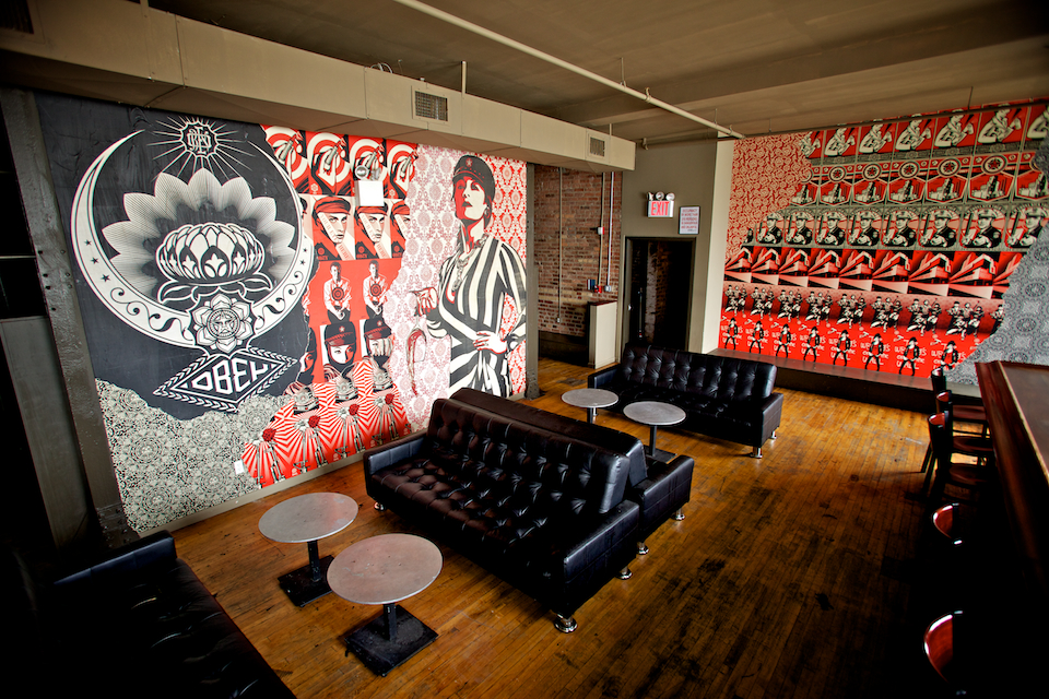 Cool murals by shephard fairey at music hall of for Bank ballroom with beautiful mural nyc