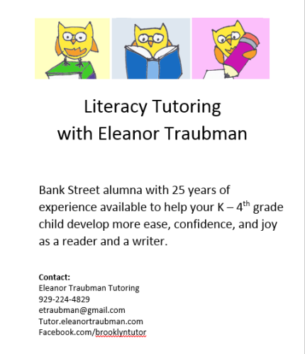 Tutoring with Eleanor Fall 2015
